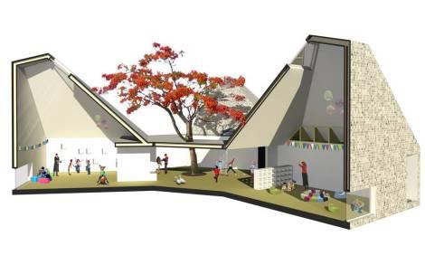 Sección por aulas y patio.