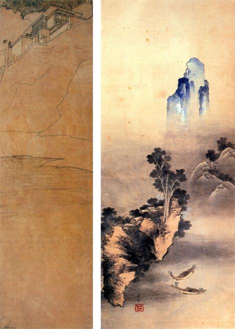 A la izquierda, lámina de Wright para la casa Hardy. A la derecha, pintura japonesa con Hanko rojo.