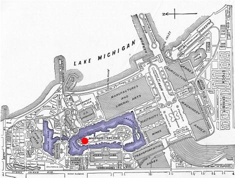 Feria mundial de Chicago, 1893. Planta general y ubicación del Pabellón del Japón.