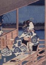 Hiroshige. Mujer asomada.