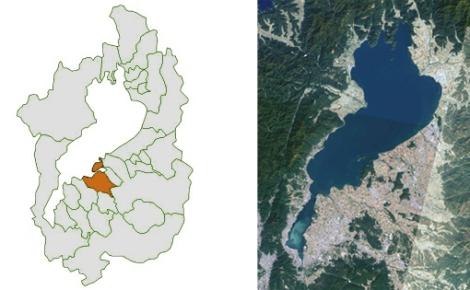 Lago Biwa y población de Omihachiman.