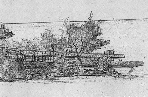Esta perspectiva, la planta, secciones y alzados son los únicos planos realizados por Wright.