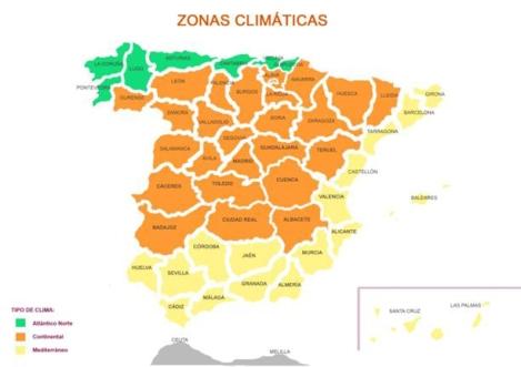 Zonas climáticas SPAHOUSEC