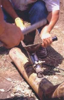 Introducción de mortero en unión